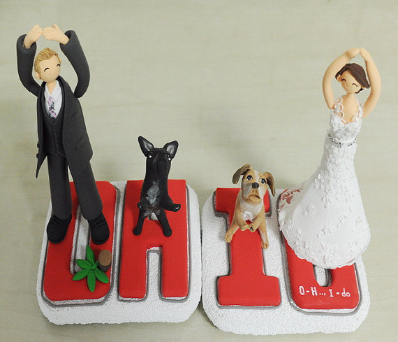 زفاف - OHIO couple custom wedding cake topper, cup cake topper