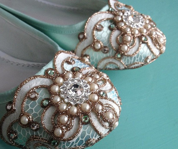 Свадьба - Mint Green Celtic Looping Lace Ballet Flat Wedding Shoes - Any Size - Pick your own shoe color and crystal color