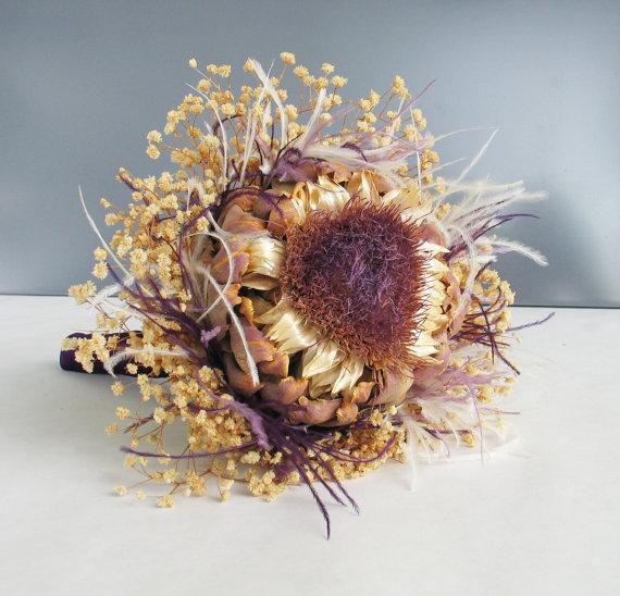 Hochzeit - Purple Focal Bouquet - Purple and ivory dried flower wedding bouquet, bridal bouquet, bridesmaid bouquet