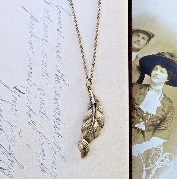 زفاف - Edwardian Feather Pendant Necklace, Antique 14k Yellow Gold & Full Cut Diamond, Love Token, Bohemian Boho Bride Bridal Jewelry