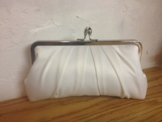 Ivory Satin Bridal Clutch White Wedding Purse Formal Precious Pleat Kisslock