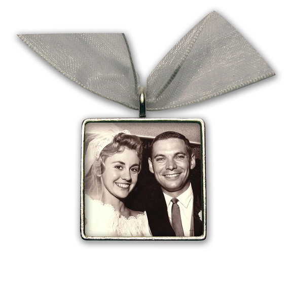 """Mariage - Wedding Bouquet Photo Charm  Wedding Accessories Silver Pewter - Square 1"""" x 1"""""""