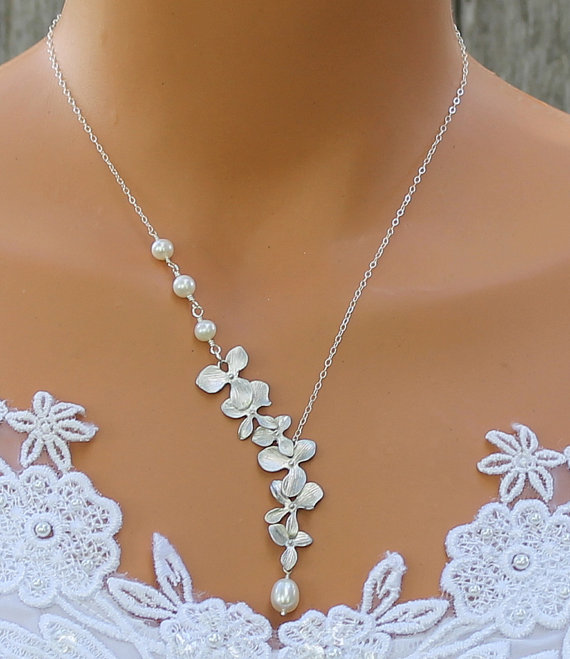 orchid necklace freshwater pearl necklace orchid
