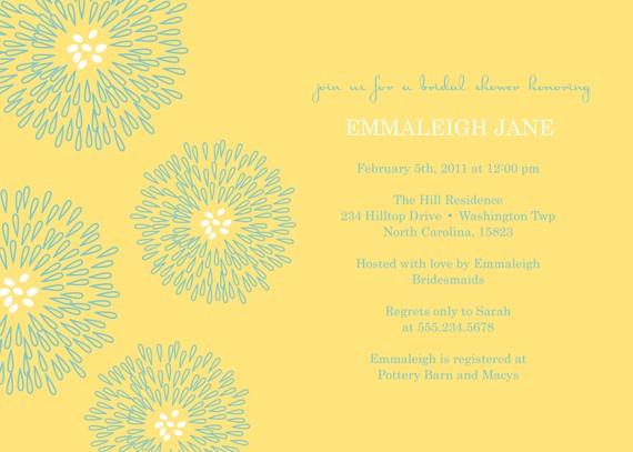 Свадьба - REVERSED MODERNIST...Printable Custom Baby or Wedding Shower Invitation with flowers...by KM Thomas Designs