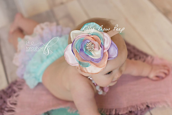 Baby Headband-Pastel Rainbow Silk Flower-Preemie-Newborn-Infant-Toddler-Child-Baby  Girl-Newborn Girl-Wedding-Baptism-Flower Girl-Baby Bows 05fd40af3cb