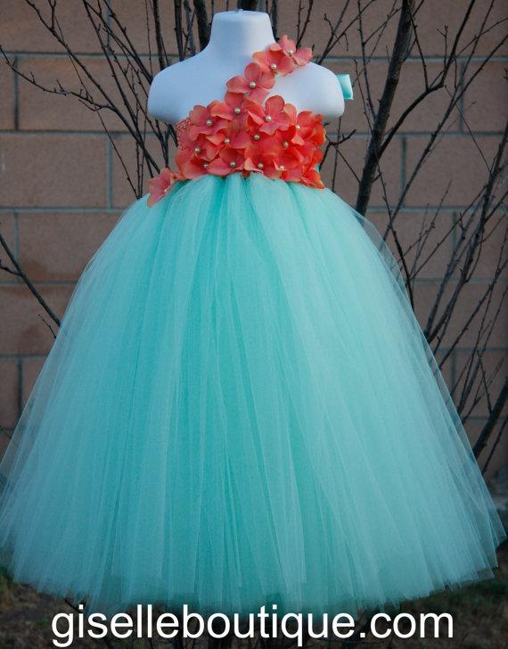 Mariage - Flower girl dress. Mint TuTu Dress.baby tutu dress with Coral Hydrangeas  , toddler tutu dress, wedding, birthday,