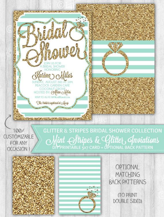 3c56b4d279a5c Mint Bridal Shower Invitation, Mint & Gold Glitter Bridal Shower ...