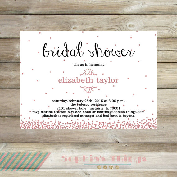 Pink Glitter Bridal Shower Invitation Pink Sparkle Confetti Pink
