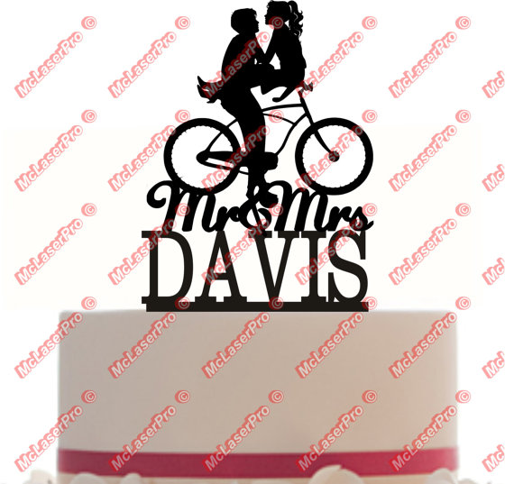 Custom Wedding Cake Topper Mr And Mrs A Bicycle Silhouette Personalized With Your Last Name Choice Of Color Free Base For Display