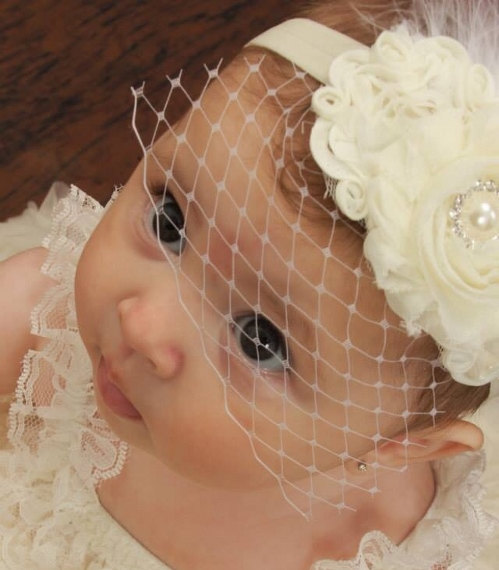 Mariage - Baby Baptism Headband .. Birdcage Veil .. Vintage Christening Headband .. Shabby Chic White Ivory Pink Aqua