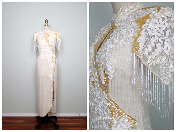 Mariage - Fringed Beaded Pearl Bridal Gown // Ivory and Iridescent Yellow Sequin Dress // Beaded Sequined Wedding Dress Small