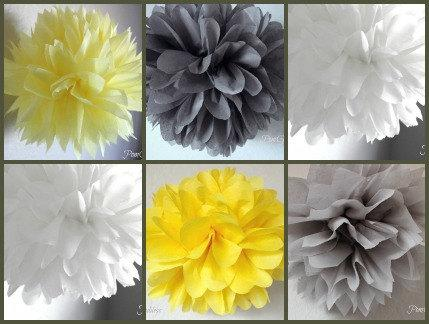 10 Yellow And Gray White Wedding Reception Decorations