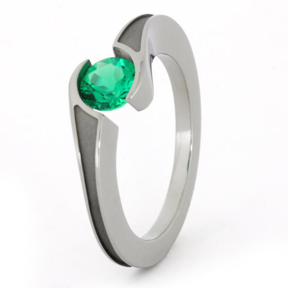 Hochzeit - Tension Set Ring with Emerald Gemstone and Sandblasted Titanium Band, Titanium Engagement Ring