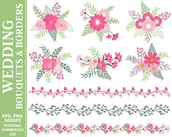 Düğün - BUY 2 GET 1 FREE! Wedding Bouquets & Borders Clip Art - Compositions, Flowers, Rose, Leaves, Borders Clip Art. Commercial and Personal use