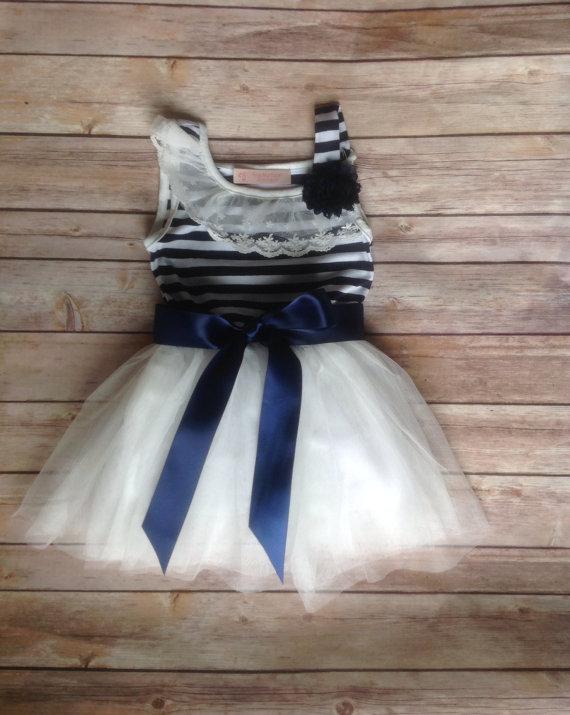 Navy White Toddler Girls Tutu Dress, Vintage Girls Dress, Nautical ...