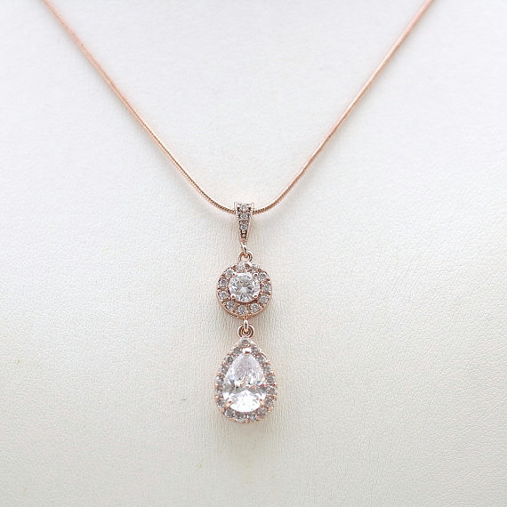 Rose gold necklace wedding necklace clear cubic zirconia teardrop rose gold necklace wedding necklace clear cubic zirconia teardrop pendant bridal necklace bridal jewelry wedding jewelry aloadofball Image collections