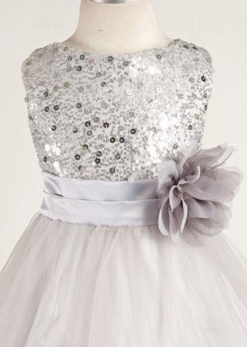 Mariage - Flower girl dress, girls dresses, silver girls dress, silver sequin dress, girls flower girl dresses girls vintage dress