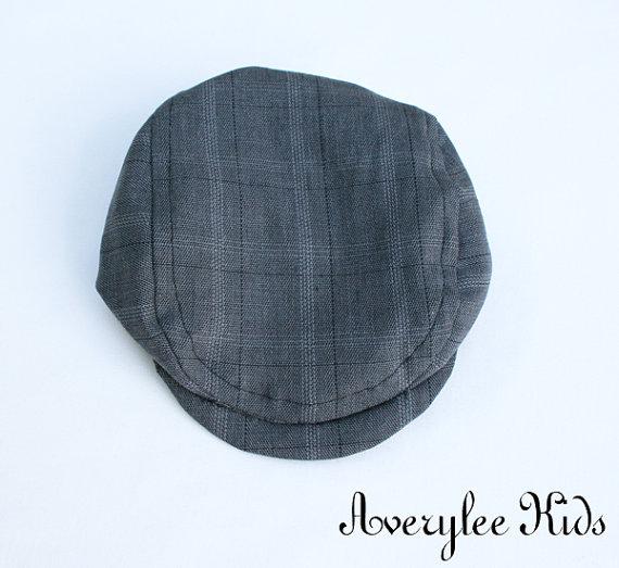 Mariage - Newsboy Hat Grey Plaid, Boys, Toddler, Infant, Father Son Matching Hats, Wedding Ring Bearer, Gray Plaid Newsie