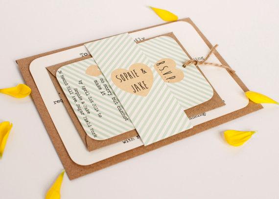 Mint Striped Wedding Invitation Belly Band Bundle 2245597 Weddbook