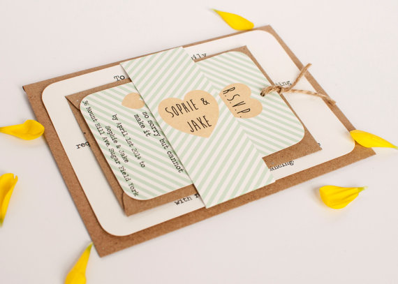 Mint Striped Wedding Invitation   Belly Band Bundle