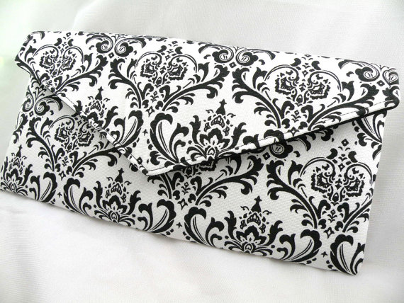 Mariage - Clutch Evening Bag Purse Weddings Bridesmaid  Black and White MADISON Damask