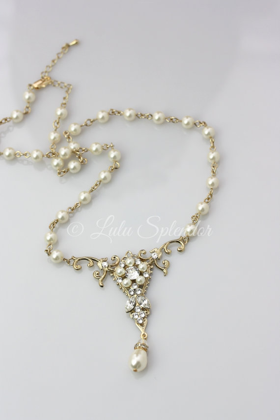 Mariage - Gold Bridal Necklace Pearl Pendant Wedding Necklace Swarovski Crystals Vintage Wedding Jewelry Filigree Necklace PARIS CLASSIC