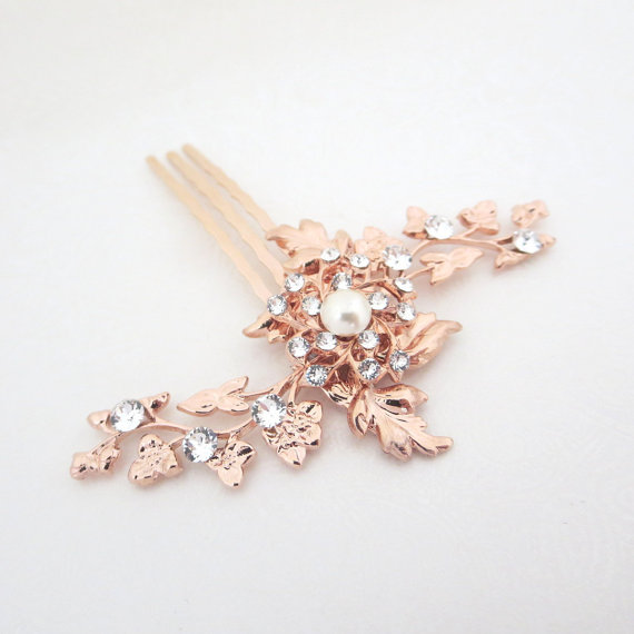 Mariage - Rose Gold Bridal hair comb, Small Wedding hair comb, Wedding jewelry, Rose Gold headpiece, Hair accessory, Vintage style hair comb