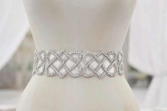 Mariage - Crystal Wedding Sash, Wedding Sash, Bridal Belt, Bridal Sash, Crystal Sash, Crystal Belt, Celtic Knot, Beaded Sash, Sash  - AUSTEN