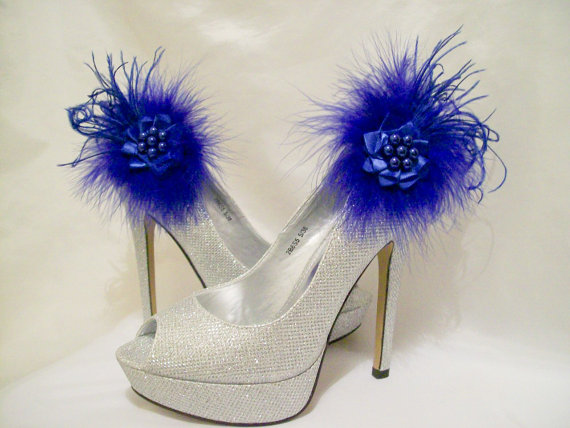 Свадьба - Royal Blue Lace Satin Organza Feather and Pearl Glamorous Shoe Clips Bridal Wedding Prom Races - Custom Made to Order