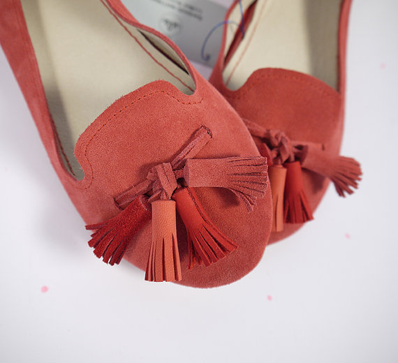 Mariage - The Loafers Shoes in Geranium Red Suede and Matching Red Tassels - Handmade Leather Shoes