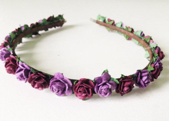 Свадьба - Purple headband hairpiece hair floral flowers nature woodland rose