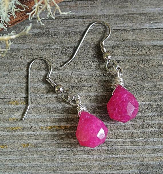 Mariage - Pink Chalcedony Dangle Earrings // Bridal Jewelry // Bridesmaids Earrings // Gifts Under 15 // Earrings // Pink Earrings // Jewelry