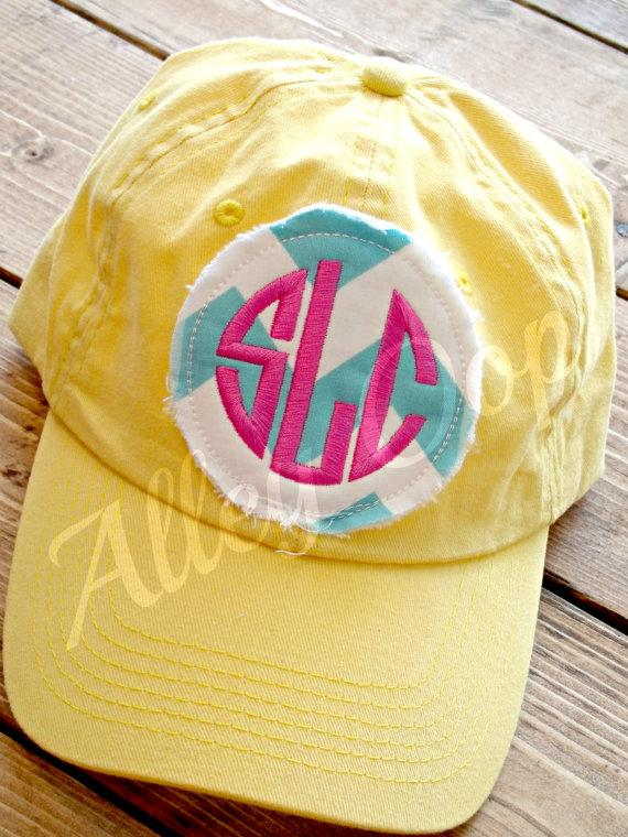 Свадьба - Preppy Monogrammed Baseball Cap hat Bridesmaid Sorority Christmas gift Personalized hat
