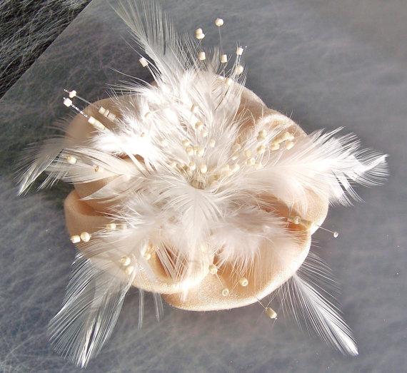 Mariage - Bridal Beaded Headpiece, Feather and Satin Fascinator, Ivory Wedding Headpiece, Wedding Hair Accessory, Old Hollywood Hair Accessory, KELLY