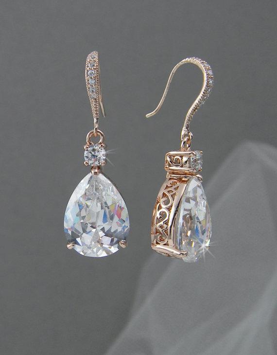 Mariage - Rose Gold Bridal Earrings, Crystal Wedding earrings, Pearl Wedding Earrings, Bridal Jewelry,  Bridesmaids, Lilliana Bridal Earrings