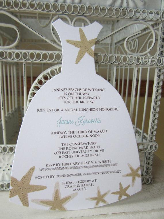 Свадьба - Beach Theme Star Fish  Bridal Shower Invitation - Custom Dress Die Cut
