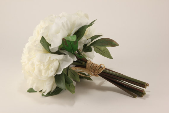Hochzeit - Ivory Peony Bouquet - Silk Flowers - Wedding Bridal - tossing bouquet - wedding, bridal, party, bridesmaids