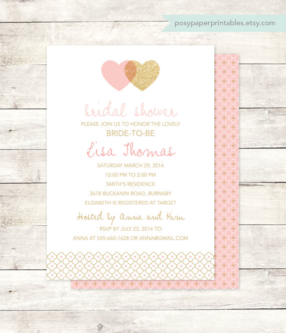 Mariage - pink gold bridal shower invitation printable wedding shower hearts pink gold glitter hearts digital invite customizable personalized