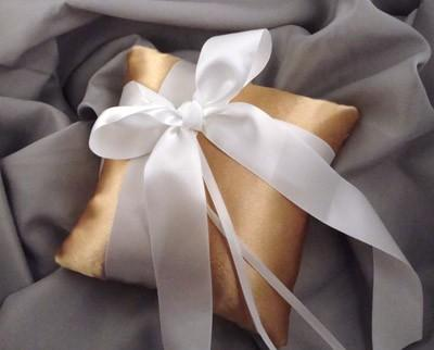 Wedding - Gabriella Ring Bearer Pillow in Gold and White - Choose Your Colors