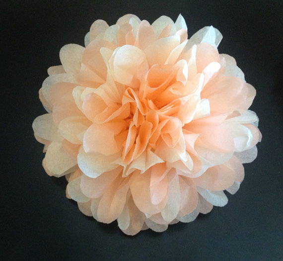 Mariage - Just Peachy - 1 Mix Tissue Paper Pom// baby shower, wedding, party decor, birthday, bridal shower, nursery decor, ceremony, reception,