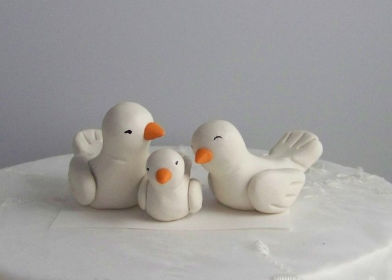 Mariage - Bird Wedding Cake Topper with Baby Bird  -- READY TO SHIP -- Color(s) of Choice