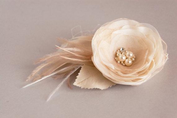 Mariage - Wedding Hairpiece, Bridal Hair Piece, Bridal Headpiece, Wedding Hair Flower, Bridal Hair Accessories,  Champagne Hair Flower