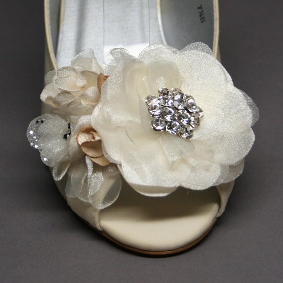 Mariage - Wedding Shoes -- Ivory Wedding Wedge with Ivory and Champagne Flower Adornments