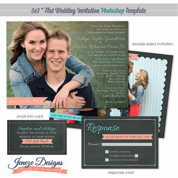 Wedding Invitation Photoshop Template - Photographers And Photoshop ...