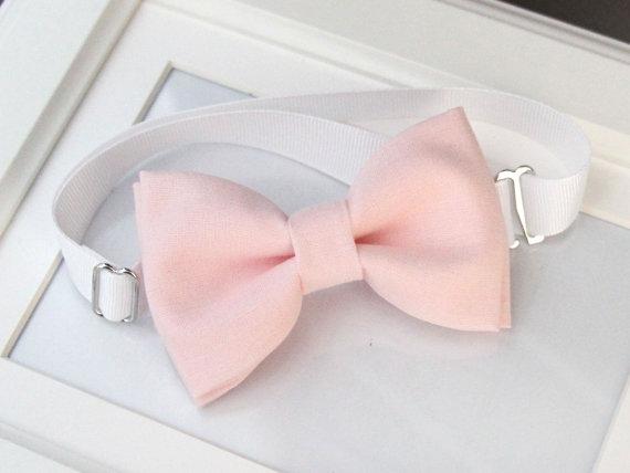 زفاف - Light pink bow-tie for baby toddler teens adult - Adjustable neck-strap