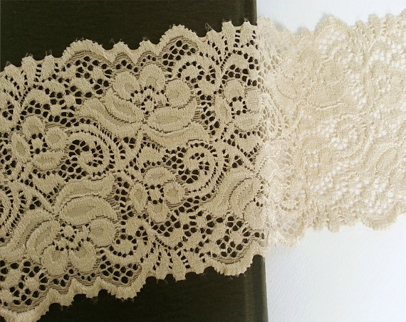Wedding - Wide Stretch Lace Trim Supply 1yd - Dark Apricot for Women, Teens and Bridal Garter, Headband, Lingerie, Leg warmers, Lace boot cuffs