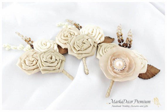 Hochzeit - Set of 3 Groom Groomsmen Boutonnieres Wedding Bridal Flower Father Corsages with Flowers, Brooches in Ivory, Champagne, Cream,Tan and Brown
