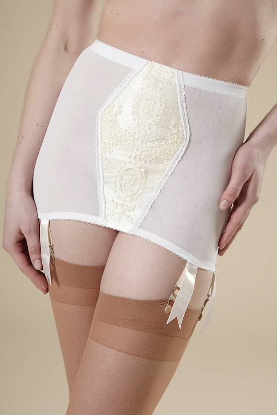 Wedding - Pin-Up Wedding White Girdle Garter Skirt Lace Vintage Style Open Bottom Bridal