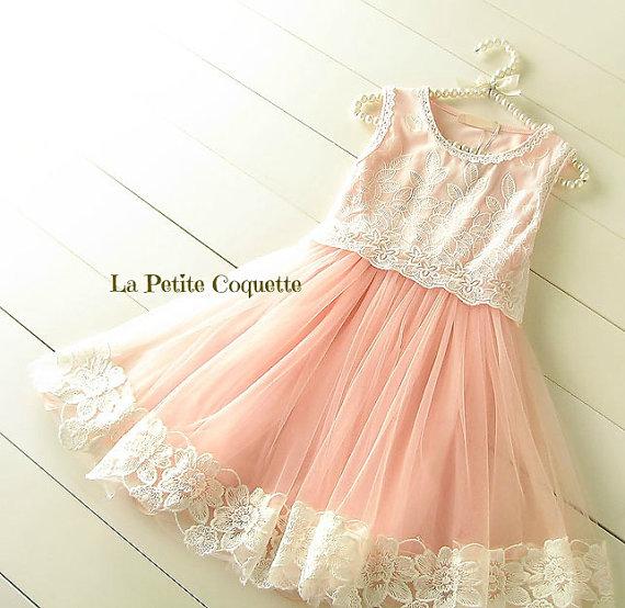 Свадьба - Girl Tulle Dress, Girl Pink Tulle Lace Dress, Lace Bodice Flower Girl Dress Wedding,Easter Girl Dress
