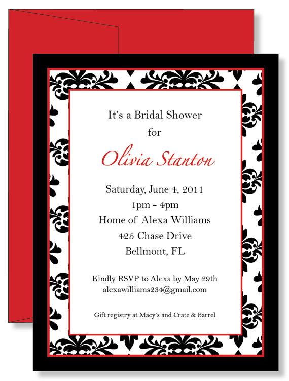 personalized damask birthday party baby wedding shower invitations